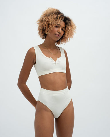 Rib seamfree bra top and high waist brief set