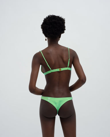 Colour change tiny triangle bikini top lime green