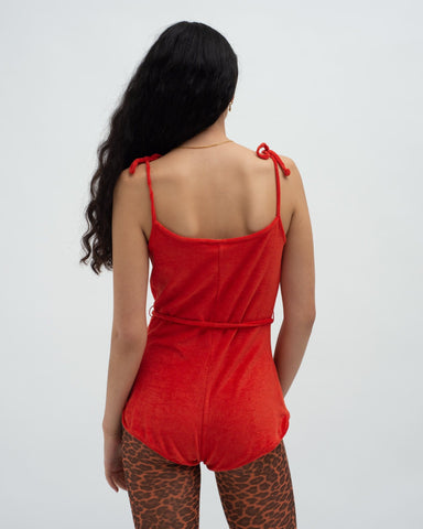 Towelling playsuit Red