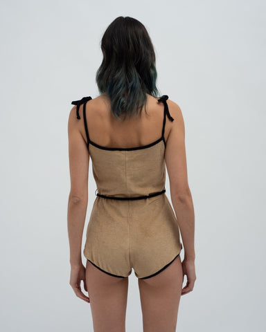 Towelling playsuit teddy