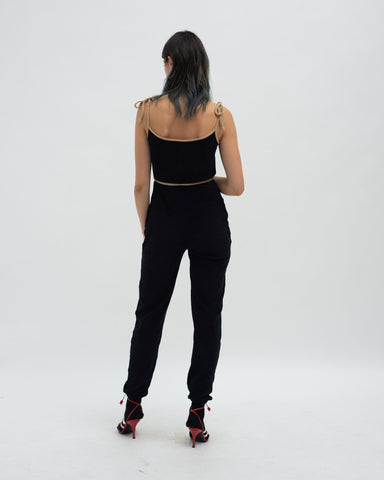 Towelling jumpsuit black