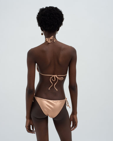 Metallic tie side bikini bottoms rose gold