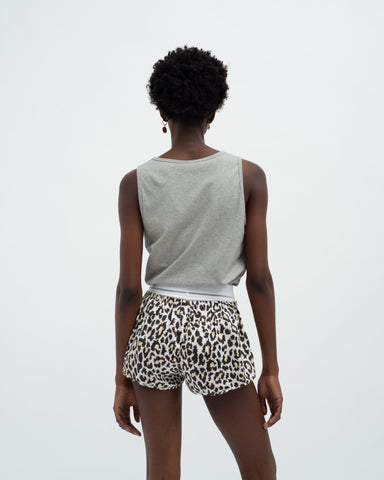 Leopard cotton pyjama shorts yellow
