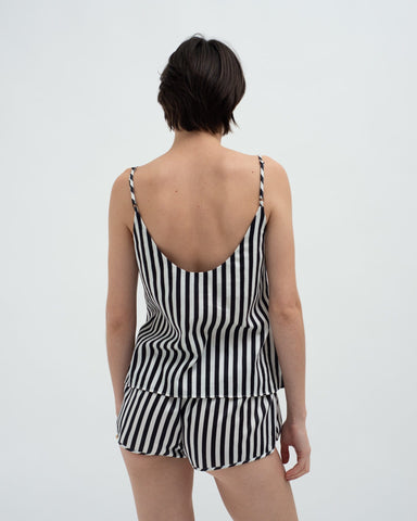 Striped cotton cami top black