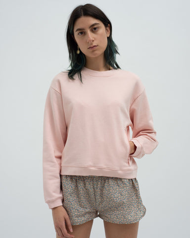 Slim shrunken sweatshirt and loose fit track pants set