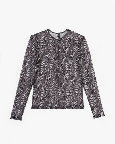 static mesh long sleeve top black/white