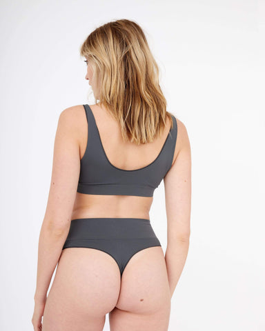 Semi sheer seamfree thong dark shadow