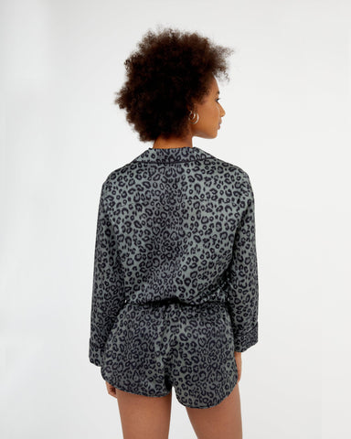 Leopard cotton pyjama shorts grey