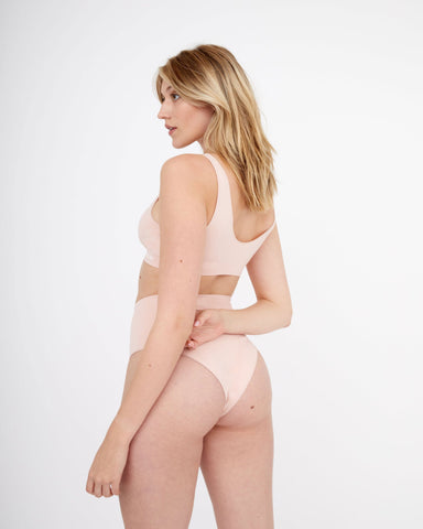 Semi sheer seamfree high waist briefs dusty pink