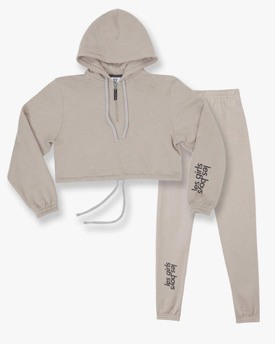 Brushback crop hoodie and slim track pants set