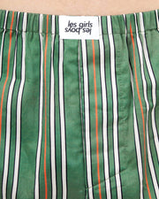 Pencil stripe woven boxers green
