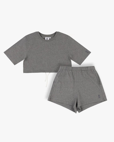 crop drawstring t-shirt and loose shorts set