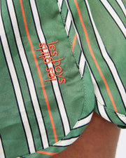 Pencil stripe cotton pyjama shorts green
