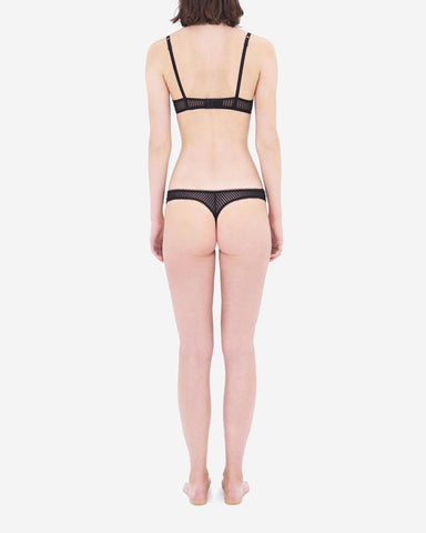 Stripe mesh thong black