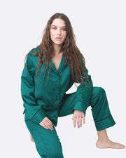 Womens classic cotton pyjama top forest green