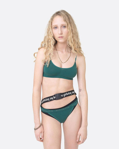 Seamfree thong forest green