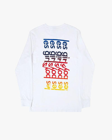 les girls les boys rainbow logo long sleeve t-shirt white