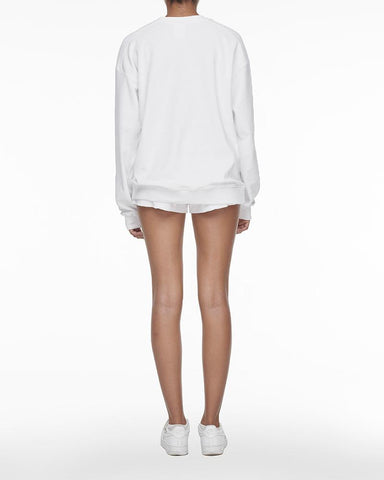 Towelling crew neck sweater white