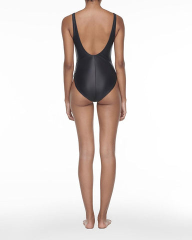 Zip up swimsuit black