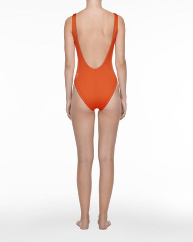 Lace up swimsuit orange