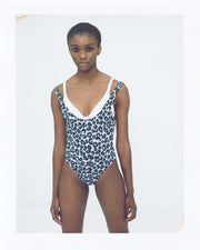 Leopard print low back swimsuit blue