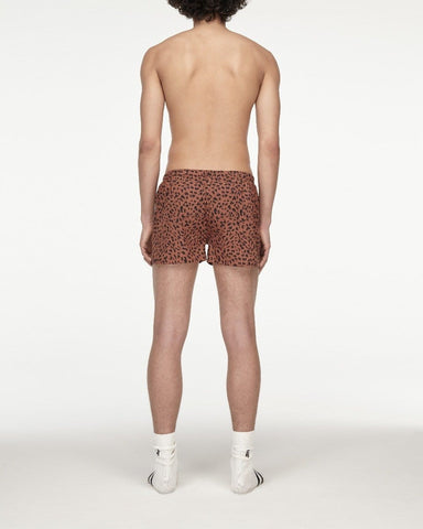 Animal print woven boxers brick red