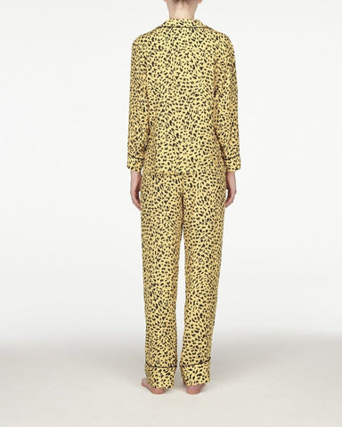 Womens animal print classic pyjama top daffodil