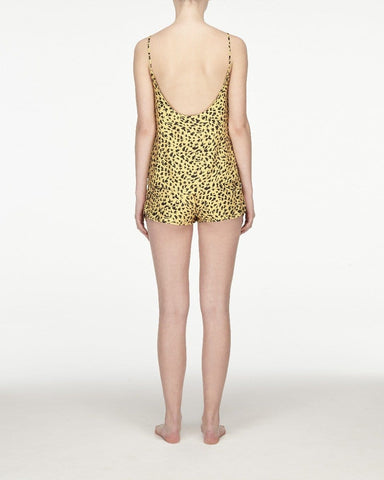 Animal print woven pyjama shorts daffodil
