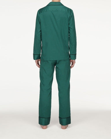 Men's classic cotton pyjama top forest green