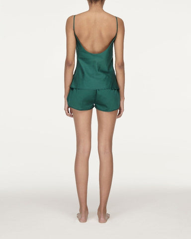 Cotton pyjama shorts forest green