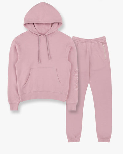 Slim shrunken hoodie and loose fit track pants set