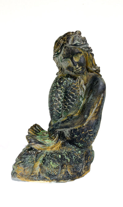 Mermaid Musing Statue in Concrete w/Faux-Bronze Patina