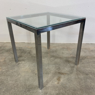 Pair - Cube Chrome Side Tables