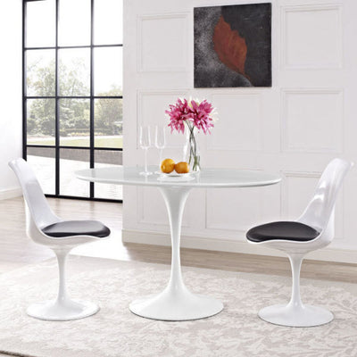 "Tulip Dining Table Oval in White with Laqured White Base 48"" x 27.5"" x 28.5"""
