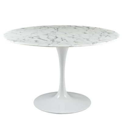 "Tulip Dining Table Round in Faux Marble with White Base 47"" x 47"" x 29.5"""