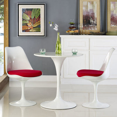"Tulip Dinng Table Round White with White Laqured Base - 48"" x 28.5"""