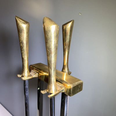 Brass and Chrome MCM Fireplace Tools