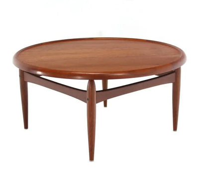 "Reversible Flip-Top Danish Modern Round Coffee Table Teak 39"" DIAM 18.5 H"