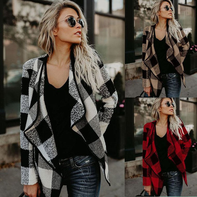 2019 plaid autumn winter women cardigan  korean fashion sweater chompas para mujer casual women cardigans coat