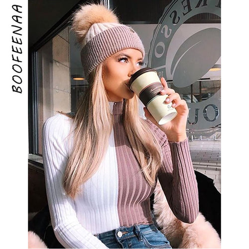 Long Sleeve Turtleneck Sweater Women White Pink Patchwork Slim Pullover Knitted Autumn Winter Tops Streetwear
