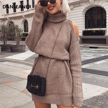 Load image into Gallery viewer, Danjeaner Autumn Winter Turtleneck Off Shoulder Knitted Sweater Dress Women Solid Slim Plus Size Long Pullovers Knitting Jumper