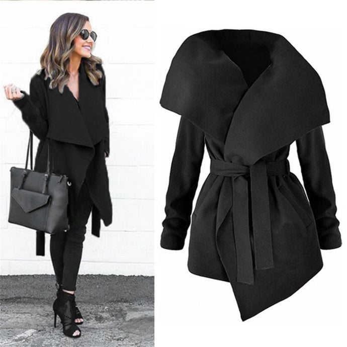 Winter Coats Women Autumn Woolen Blend Fashion Lapel Jackets