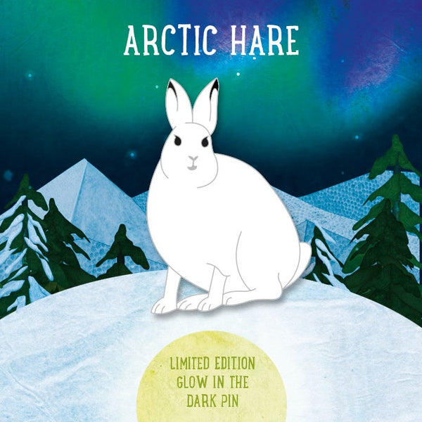 LIMITED EDITION ARCTIC HARE GLOW IN THE DARK ENAMEL PIN