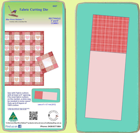 "Rectangle 3"" x 6"" finished and Square 3"" x 3"" finished  Combo -  6007 - includes cutting mat"