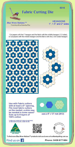 "Hexagon 3"" cut and Diamonds 1 1/2"" sides - Combo - 6074 - includes cutting mat"