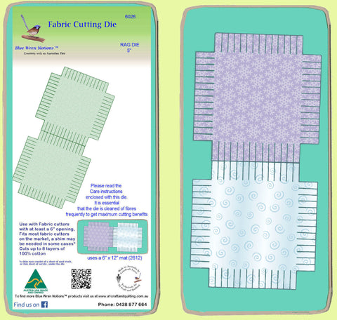 "Rag Die Square 5"", Multi x 2 - 6026 - includes cutting mat"