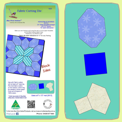 "Hexagons, 90 degree 1½"" sides (POTC) with 1½"" squares, 3/8"" seam - 6028 - includes cutting mat"