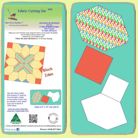 "Hexagons, 90 degree 2"" sides (POTC) with 2"" squares, 3/8"" seam - 6029 - includes cutting mat"