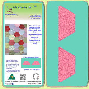 "Half Hexagon 2 1/4"" finished sides, for Charm squares 6032 - Includes cutting Mat"