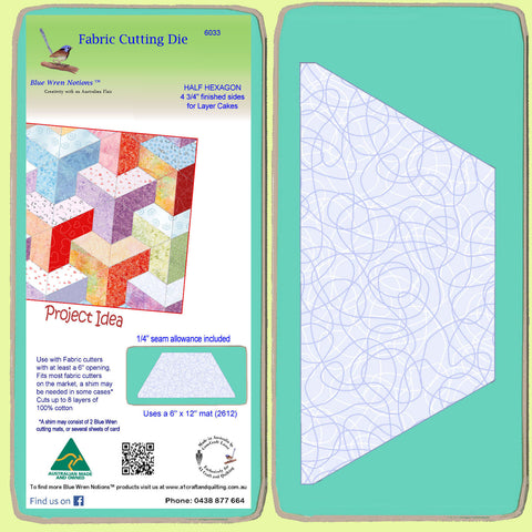 "Half Hexagon 4 3/4"" finished sides, for Layer Cakes, 6033 - Includes cutting Mat"